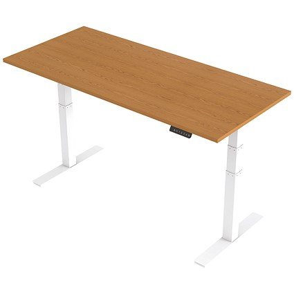 Trexus Height-adjustable Desk / White Legs / 1800mm / Oak