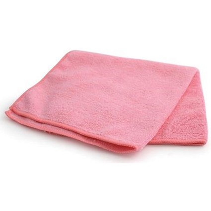 Maxima Microfibre Glass Cloths / Anti-bacterial / Pink / Pack of 10