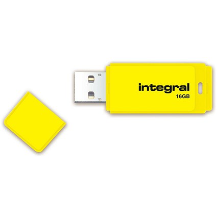 Integral Neon 2.0 USB Drive, 16GB, Yellow
