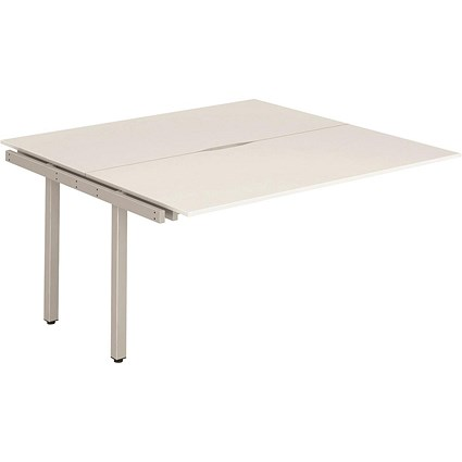Trexus 2 Person Bench Desk Extension / 2 x 1200mm (800mm Deep) / Silver Frame / White