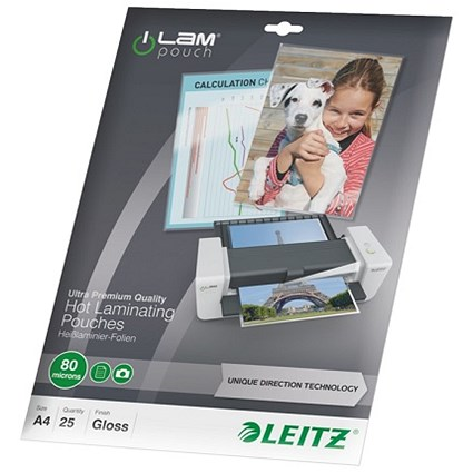 Leitz A4 Laminator Pouches / Thin / 160 Micron / Glossy / Pack of 25