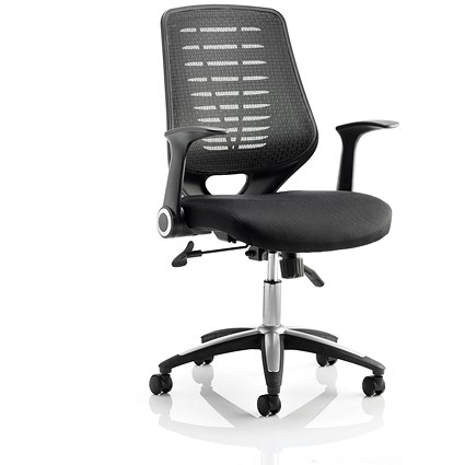 Sonix Relay Chair with Folding Arms - Black