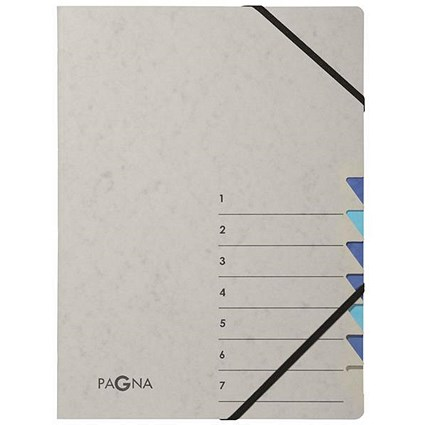 Pagna Pro Elasticated Files / 7-Part / A4 / Grey & Blue / Pack of 5