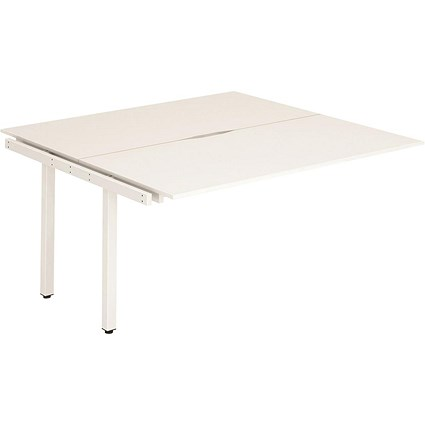 Trexus 2 Person Bench Desk Extension / 2 x 1200mm (800mm Deep) / White Frame / White