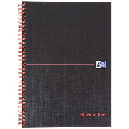 Black n' Red Hardback Wirebound Notebook / B5 / Ruled with Margin / 140 Pages / Pack of 5