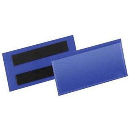 Durable Magnetic Document Sleeves / 110x38mm / Blue / Pack of 50