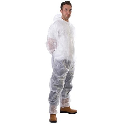 Supertouch Coverall / Non-Woven / Disposable / Zip Front / White / Large / White
