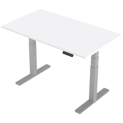 Trexus Height-adjustable Desk / Silver Legs / 1400mm / White