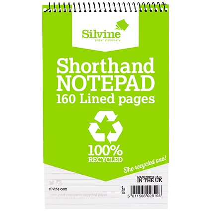 Silvine Recycled Wirebound Shorthand Notepad / 125x200mm / Ruled / 160 Pages / Pack of 12