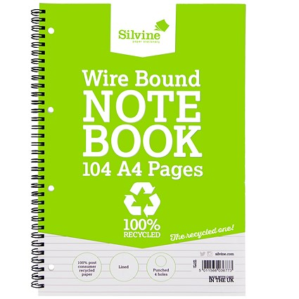 Silvine Everyday Recycled Wirebound Notebook / A4 / Punched / Ruled / 104 Pages / Pack of 12