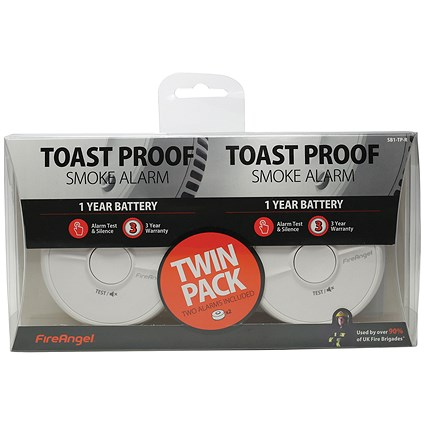 First Alert General Use Smoke Alarm with Silencer Button White Ref SA302UK [Pack 2]