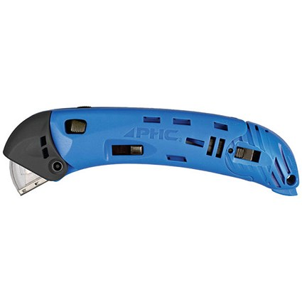 Pacific Handy Cutter Guarded Safety Cutter, Ambidextrous, Retractable, Blue