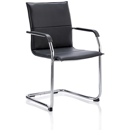 Sonix Visitor Cantilever Leather Chair - Black