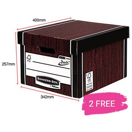 Fellowes Premium 725 Classic Bankers Box / Woodgrain / 12 for the price of 10