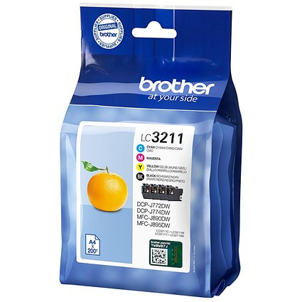 Brother LC3211 Ink Cartridges - Black, Cyan, Magenta and Yellow (4 Cartridges)