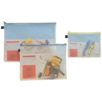 A5 Reinforced Mesh Zip Filing Bags / Yellow Seal / Pack of 5