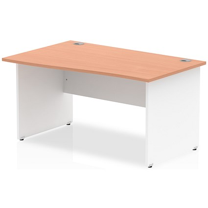 Trexus 1400mm Two-Tone Wave Desk, Left Hand, White Panel Legs, Beech