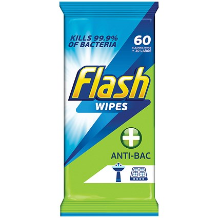 Flash Antibacterial Cleaning Wipes - Pack of 60