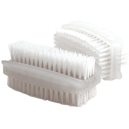 Bentley Nail Brush Double Sided Plastic, White, Pack of 2
