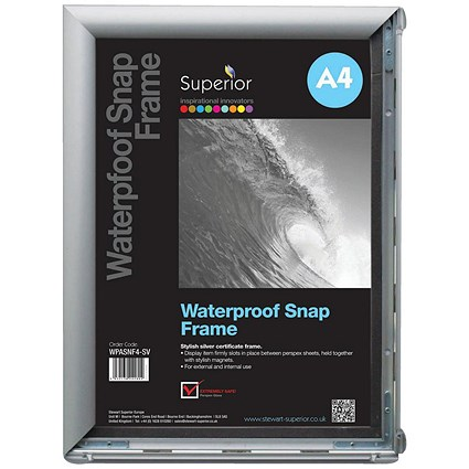 Waterproof Anti-glare Snapframe with Screw Kit, PVC, A4, Silver