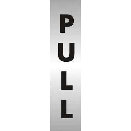 Stewart Superior Pull Sign Brushed Aluminium Acrylic W45xH190mm Self-adhesive