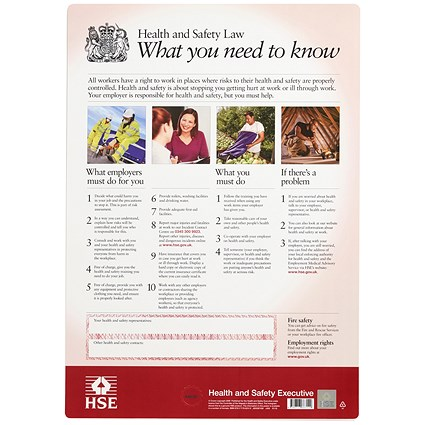 Stewart Superior Health and Safety Law HSE Statutory Poster 2009 / Clip Frame / A2