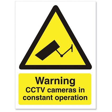 Stewart Superior Caution CCTV Cameras in Operation Sign W150xH200mm Self-adhesive Vinyl