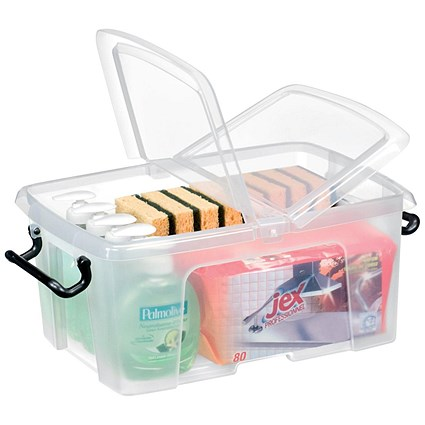 Strata Smart Box, 12 Litre, Clip-on Folding Lid, Carry Handles, Clear