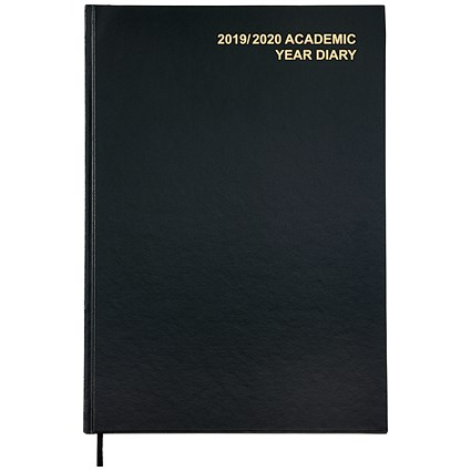 5 Star 2019/20 Academic Diary, Week to View, A4, Black