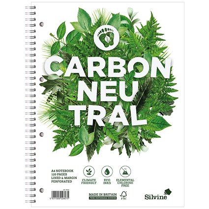 Silvine Carbon Neutral Notebook / A4 / Perforated / 4 Holes / 120 Pages / Pack of 5
