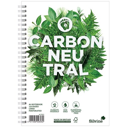 Silvine Carbon Neutral Notebook / A5 / Perforated / 2 Holes / 120 Pages / Pack of 5