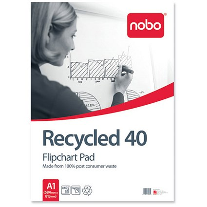 Nobo Recycled Flipchart Pad / Perforated / 40 Sheets / A1 / Plain / Pack of 5
