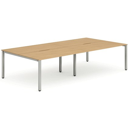 Trexus 4 Person Bench Desk / 4 x 1600mm (800mm Deep) / Silver Frame / Beech