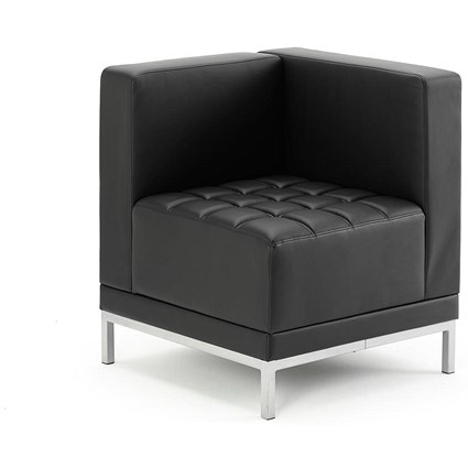 Sonix Leather Modular Corner Unit Chair - Black