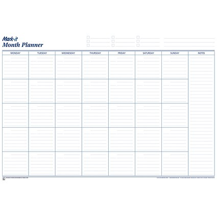 Mark-it Month Planner, Laminated with Notes Column, 900x600mm