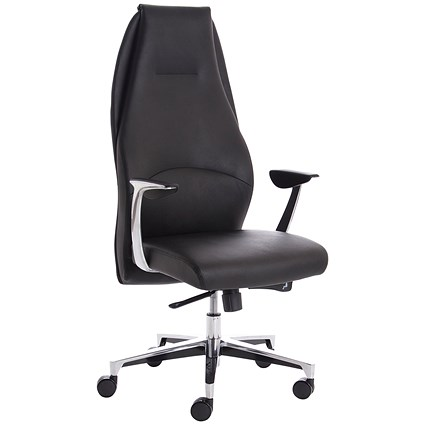 Adroit Mein Leather Chair, Leather, Black