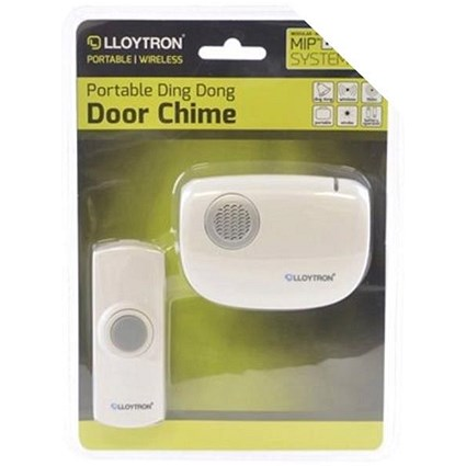 Cordless Door Chime with MIP System 150m Range Includes 2xAA Batteries White