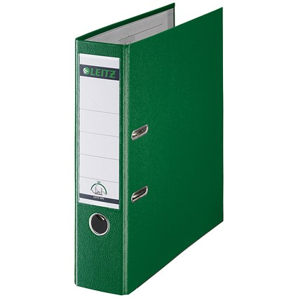 Leitz A4 Lever Arch Files / Plastic / 80mm Spine / Green / Pack of 10