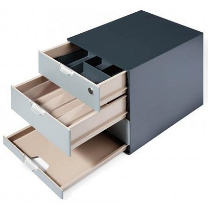 Durable Coffee Point Box, Integrated Cylinder Lock, Charcoal