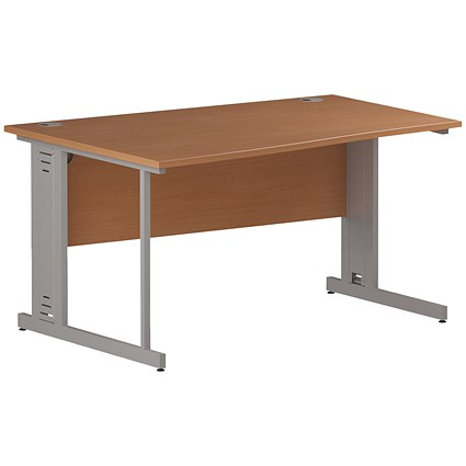 Trexus 1400mm Wave Desk, Left Hand, Cable Managed Silver Legs, Beech