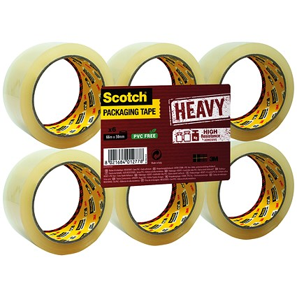 Scotch Heavy Packaging Tape, High Resistance, Hotmelt, 50mmx66m, Clear, Pack of 6