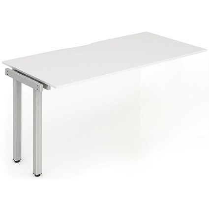 Trexus 1 Person Bench Desk Extension, 1200mm (800mm Deep), Silver Frame, White