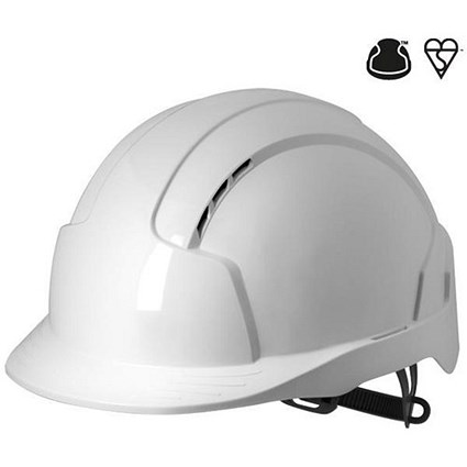 JSP EVOLite EN397 CR2 Safety Helmet / ABS 6-point Terylene Harness / White