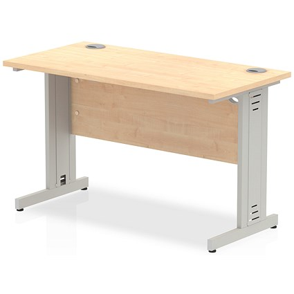 Trexus 1200mm Slim Rectangular Desk, Cable Managed Silver Legs, Maple