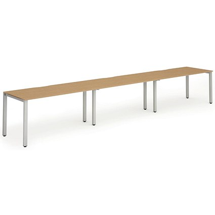 Trexus 3 Person Bench Desk / 3 x 1400mm (800mm Deep) / Silver Frame / Oak
