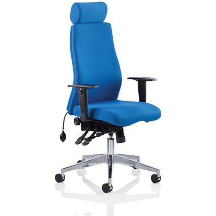 Adroit Onyx Posture Chair with Headrest - Blue
