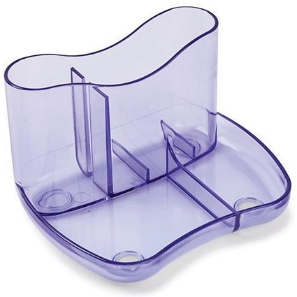 Contemporary Desk Tidy with 4 Compartments - Purple