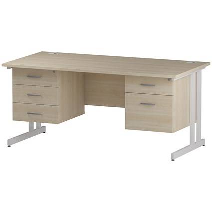 Trexus 1600mm Rectangular Desk, White Legs, 2 Pedestals, Maple