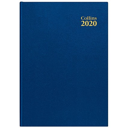 Collins 2020 Desk Diary, Day to a Page, A4, Blue