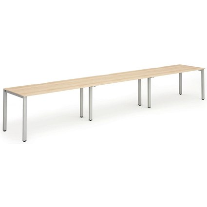 Trexus 3 Person Bench Desk, 3 x 1400mm (800mm Deep), Silver Frame, Maple